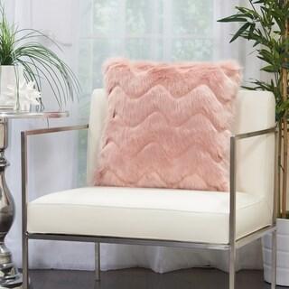 Mina Victory Chevron Plush Faux Fur Throw Pillow