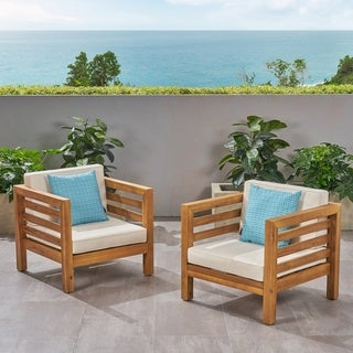 Oana Outdoor Acacia Wood Club Chairs with Cushions (Set of 2) by Christopher Knight Home