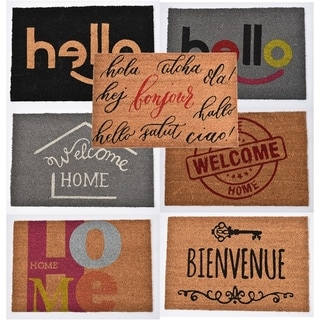 Sheltered Printed Front Door Mat Coir Coco- Hello -Welcome Home -Bienvenue -Bar Code-Foot Prints