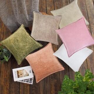 Kyler Cotton Velvet Weathered Throw Pillow Cover-18x18'', Set of 2
