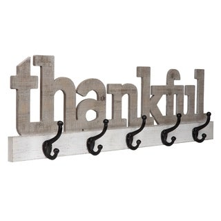 Gallery Solutions Rustic Thankful Wood Cut Out Wall Sign with Hooks