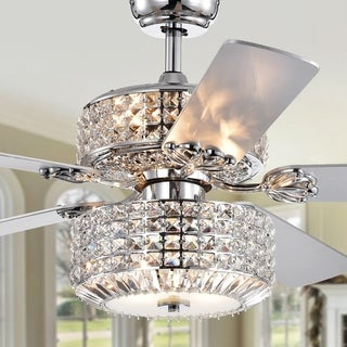 Walter Dual Lamp Chrome 52-inch Lighted Ceiling Fan w Crystal Shades optional Remote (incl 2 Color Blade Options)