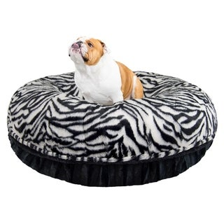 Bessie and Barnie Signature Zebra/ Black Puma Luxury Extra Plush Faux Fur Bagel Pet / Dog Bed