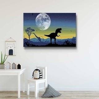 Age of Dinosaurs Navy Gallery Wrapped Canvas