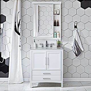 "Vanity Art 30"" Single Sink Bathroom Vanity Set Soft-Clothing Doors 1 Shelf 2 Drawers with White Cultured Marble Top (White)"