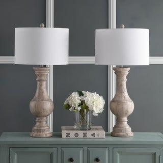 "Safavieh Lighting 31-inch Savion White LED Table Lamp (Set of 2) - 16""x16""x31.3"""
