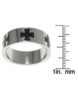CGC Stainless Steel Black Maltese Cross Ring