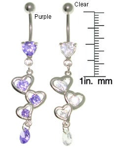 CGC Fancy Heart Dangle Belly Ring