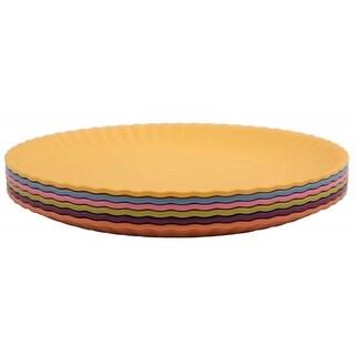 Melange 6-Piece Melamine Salad Plate Set (Paper Plate Collection) Shatter-Proof Salad Plates Multicolor