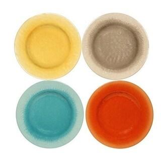 Melange 6-Piece Melamine Dinner Plate Set (Crackle Collection) Shatter-Proof Dinner Plates Multicolor