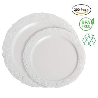Party Joy 200-Piece Royale Plastic Plate Set, 100 Salad Plates &, 100 Dinner Plates Heavy Duty Premium Plastic Plates, White