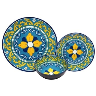 Melange 18-Pcs Melamine Dinnerware Set(Florence) Dinner Plate, Salad Plate & Soup Bowl(6 Each)
