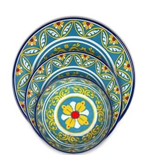 Melange 18-Pcs Melamine Dinnerware Set(Tuscany) Dinner Plate, Salad Plate & Soup Bowl(6 Each)