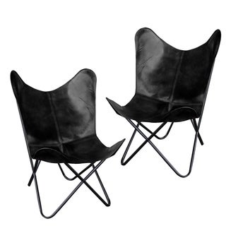 Natural Leather Butterfly Chair in Black, 2 Piece Set