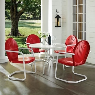 Howard Bay White Metal 5-piece Outdoor Dining Set with 39-inch Table and Red Chairs by Havenside Home