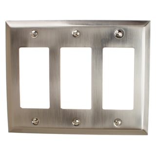 GlideRite 3-gang Rocker Wall Plate Cover Brushed Nickel (Pack of 3)
