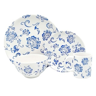 Melange Porcelain 32-Piece Dinnerware Set (Indigo Royale) Service for 8 Dinner Plate, Salad Plate, Soup Bowl & Mug (8 Each)