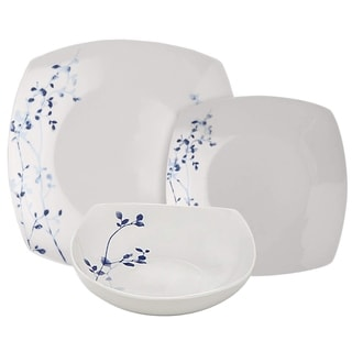 Melange Square 32 Piece Porcelain Dinner Set (Indigo Garden) 8 Dinner Plate, Salad Plate, Soup Bowl & Mug (8 Each)