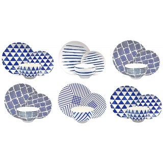 Melange Porcelain 36-Piece Dinnerware Set (Indigo Collection) Service for 12 Dinner Plate, Salad Plate & Soup Bowl (12 Each)