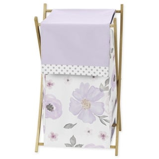 Sweet Jojo Designs Lavender Purple, Pink, Grey and White Watercolor Floral Collection Laundry Hamper