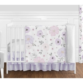 Sweet Jojo Watercolor Floral Lavender Shabby Chic 4-piece Nursery Crib Bedding Set