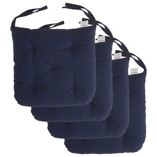 """Cottone 100% Cotton Chair Pads w/Ties (Set of 4) 16"""" x 15"""" Square Round Ergonomic Pillows for Rocking, Camping, Blue"""