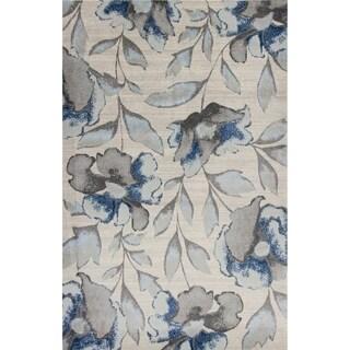 Domani Kai Grey/Blue Watercolor Florals Area Rug