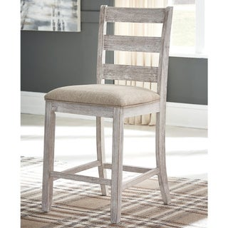 The Gray Barn Dunbeg Bay White and Light Brown Upholstered Counter Height Stool (Set of 2)