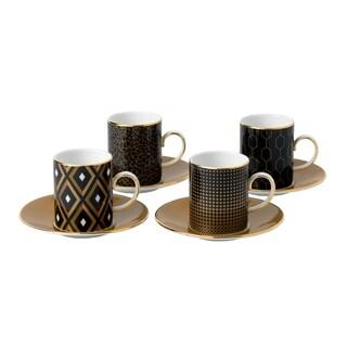 Arris Espresso Fine Bone China Accent Cups and Saucers (Set of 4)
