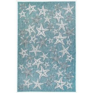 Liora Manne Coastal Starfish Indoor/Outdoor Rug Aqua