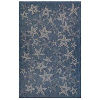 Liora Manne Carmel Coastal Starfish Indoor/Outdoor Rug Navy