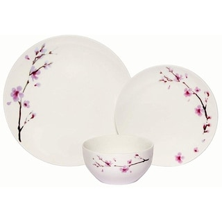 Melange 18 Piece Coupe Porcelain Dinner Set, Pink Zen (Pack of 18)