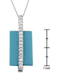Fremada Sterling Silver Turquoise CZ Geometric Necklace