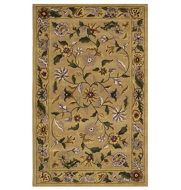 Hand-tufted Gopala Beige Wool Rug (5' x 8')