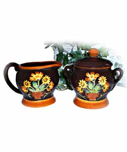 Handpainted English Sunflower Sugar & Creamer Set