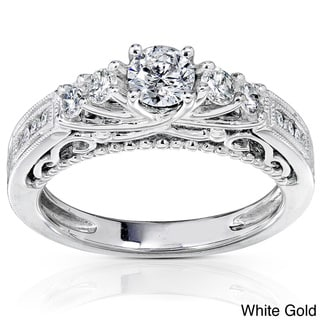 Annello 14k Gold 3/4ct TDW Round Brilliant Diamond Ring with Satin and Velvet Gift Box (H-I, I1-I2)
