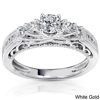 Annello 14k Gold 3/4ct TDW Round Brilliant Diamond Ring with Satin and Velvet Gift Box (H-I, I1-I2)