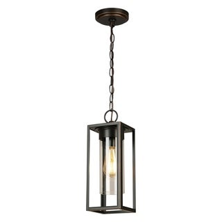 Eglo Walker Hill 1-Light Oil Rubbed Bronze Outdoor Pendant with Clear Glass