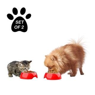 Petmaker Red Food and Water Bowls with Raised Nonslip Rubber Bottom for Dogs and Cats (Set of 2)