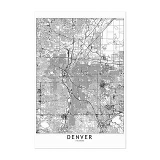 Noir Gallery Denver Black & White City Map Unframed Art Print/Poster