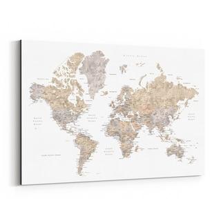 Noir Gallery Beige Watercolor World Map Canvas Wall Art Print
