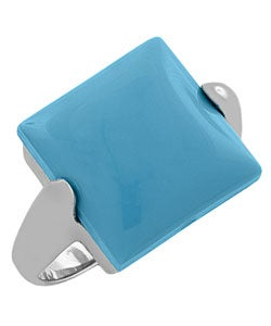Fremada Sterling Silver Square Turquoise Cocktail Ring