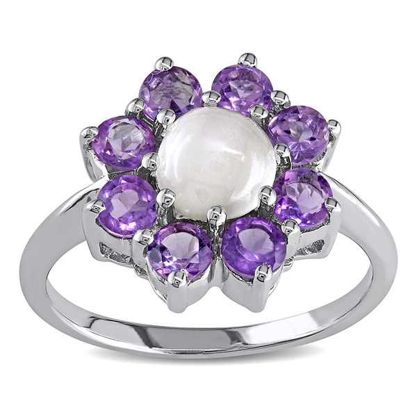 M by Miadora Silver White Moonstone Amethyst Ring