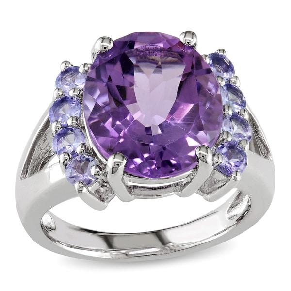 Miadora Sterling Silver Amethyst and Tanzanite Ring