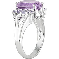 Miadora Sterling Silver Amethyst and Tanzanite Ring