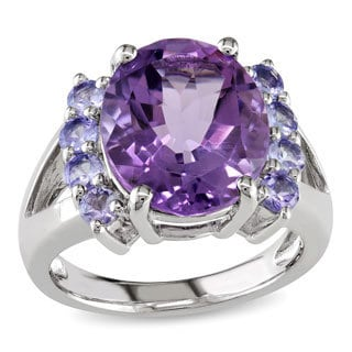 Miadora Sterling Silver Amethyst and Tanzanite Ring with Bonus Earrings