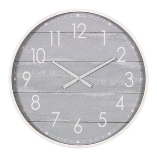 "28"" Gray Washed Wood Plank Round Wall Clock"