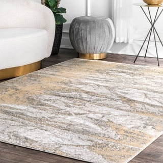 Porch & Den Triangle Square Modern Abstract Foil Pattern Area Rug