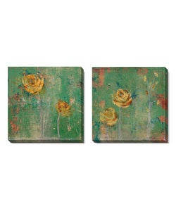 Green Floral Series Gallery-wrapped Canvas Art Set