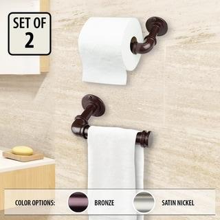 InStyleDesign Industrial Pipe Design Single Toilet Paper/ Towel Holder - Set of 2
